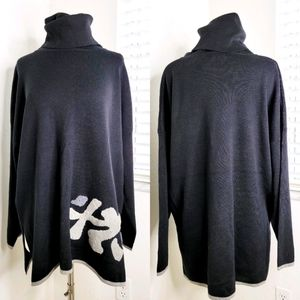 •ANIMALE• Oversized Turtleneck Sweater In Black L.